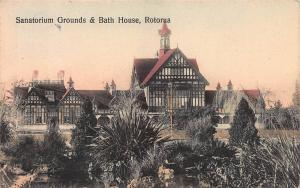 Sanatorium Grounds & Bath House, Rotorua, New Zealand, Early Postcard, Used