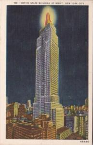 New York City Empire State Building At Night 1952