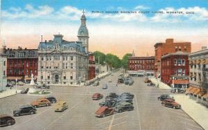Wooster Ohio~Public Square Showing Court House~Diagonal Parking 1940s Postcard