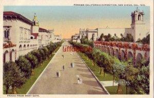 PRADO FROM THE WEST GATE PANAMA-CALIFORNIA EXPO SAN DIEGO 1915
