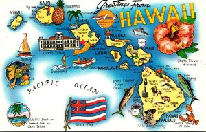 Hawaii Greetings With Map Of The Islands