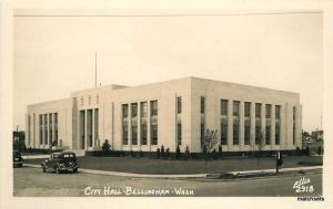 1940s City Hall Bellingham Washington autos  RPPC Postcard Ellis 10474