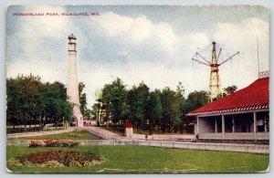 Milwaukee WI~Flying, Spinning Ride~Lighthouse~Wonderland Amusement Park~1909 PC