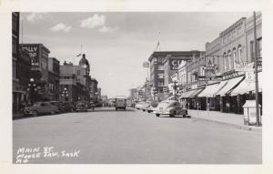 RP: MOOSE JAW, Saskatchewan, 1930-40s; Main Street, Store Fronts, Classic Cars