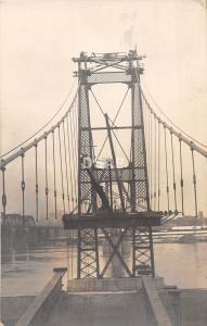 C81/ Akron? Ohio Postcard Real Photo RPPC Bridge River Construction