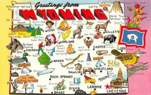 LPM31 Wyoming Map Chrome Postcard Equality State