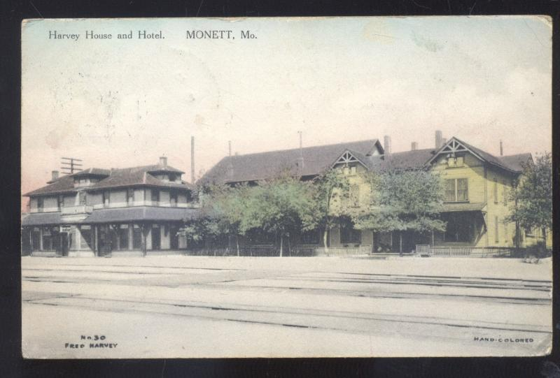 Monett Missouri Fred Harvey House Hotel Railroad Depot Vintage Postcard Mo