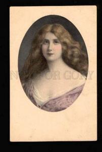 049051 Lady w/ Long Hair Style ASTI vintage M.M.VIENNE PC