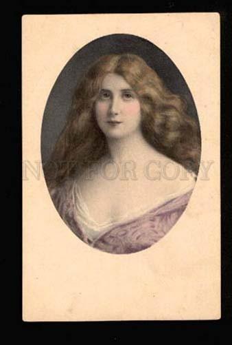 049051 Lady w/ Long Hair Style ASTI vintage M.M.VIENNE PC