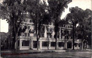 Curtis Hotel Lenox MA c1915 Porch Veranda Street View Mountains Vtg Postcard