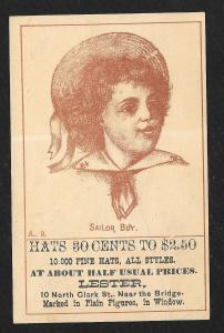 VICTORIAN TRADE CARD Lester Fine Hats All Styles