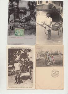 RICKSHAWS POUSSE-POUSSE TRANSPORT AFRICA AFRIQUE ASIA ASIE 41 CPA (pre-1940)