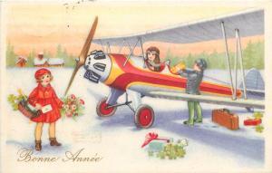 Plane children winter New Year fantasy postcard