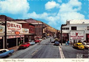 VIRGINIA CITY NEVADA~MAIN STREET VIEW~DELTA SALOON~BUCKET OF BLOOD POSTCARD