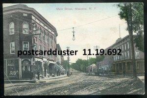 692 - MASSENA NY Postcard 1910s Main Street. Store