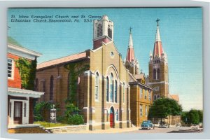Shenandoah PA, St. John's Church, St. George Church, Linen Pennsylvania Postcard