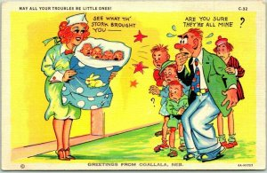 1940s RAY WALTERS Comic Postcard OGALLALA NEBRASKA Greetings Babies Linen Unused