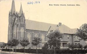 D58/ Coldwater Ohio Postcard 1913 Holy Trinity Church Building