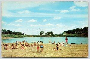 Byron Illinois~Lake Louise Bathing Beauties~Sandy Beach~Kids~Life Guard~1950s