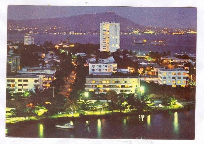 CARTAGENA, Bird's Eye-View, Bocagrande Sector at Night, Colombia, 50-70