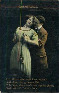 Postcard couple romantic lovers love idyll kiss romance fancy fashion mustache