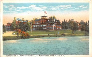 Forest Hall All Year Clubhouse Lake Placid, New York Postcard