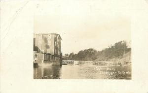 Sheboygan Falls WI 4-Story Mill @ Upper Dam~Can't Get Grain RPPC 1919 (As Is)