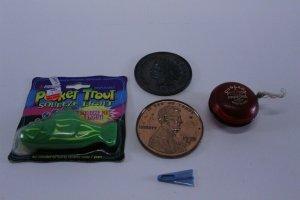 Retro Kids Dresser Drawer Lot Duncan Yo-Yo Oversized Pennies Whistle Fish