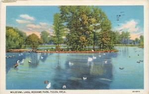 Tulsa Oklahoma~Mohawk Park~Wildfowl Lake~Geese~Swans~1934 Linen Postcard