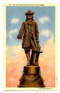 PA - Philadelphia. City Hall. William Penn Statue on Tower
