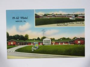 19-62 Motel in Mercer PENNSYLVANIA Vintage 2-View Chrome Postcard