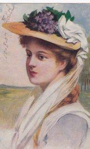 Female head Portrait w/ purple Flowers & hat , 1907