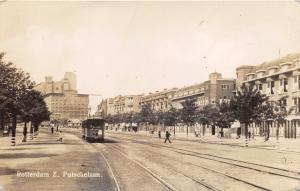 Vintage Real Photo Postcard TRAM Rotterdam Putschelaan Holland Netherlands #R