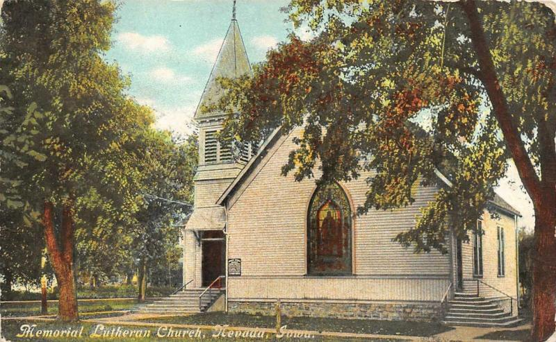 NEVADA, IA Iowa   MEMORIAL LUTHERAN CHURCH    Story County   1912 Postcard