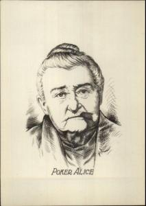Old West Poker Alice Smoking Cigar Real Photo of Pencil Sketch myn 1920s-30s