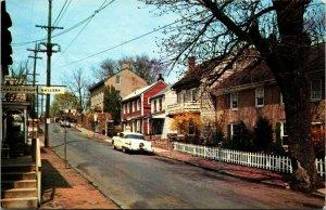Pennsylvania PA postcard New Hope, Mechanic Street chrome Bucks County