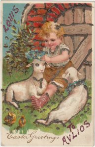 EASTER, PU-1910; Toddler putting flowers on sheep's head, Glitter, PFB 8390