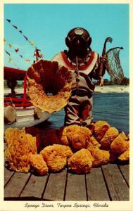 Florida Tarpon Springs Sponge Diver With Sponges