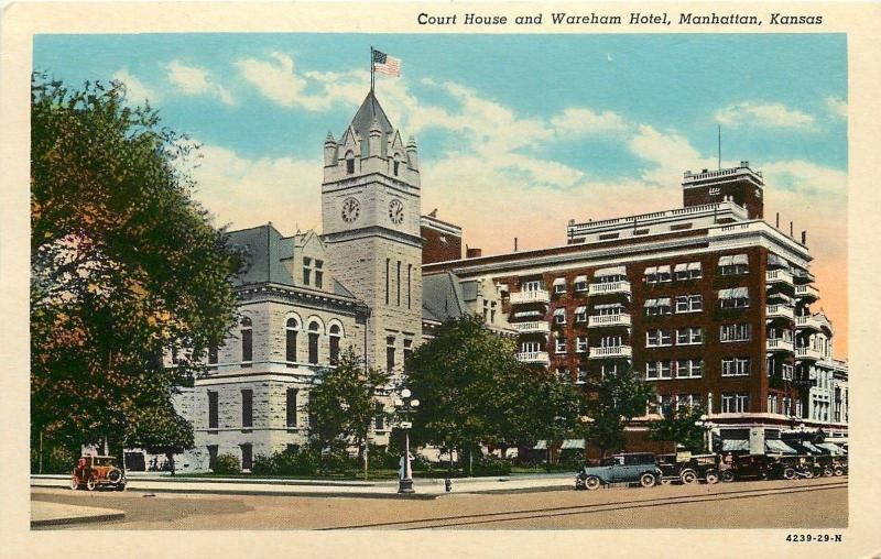Manhattan Kansas~2:03 PM @ Court House And Wareham Hotel~1930s Postcard