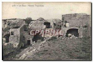 Old Postcard Les Baux houses troglodytes