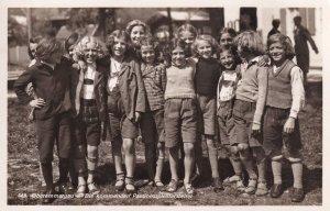 Oberammergau Germany Jungen Lassen School Children at Bank Old Postcard