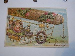 Postcard Airship Dirigible Birthday Greetings Boy Girl Series 175