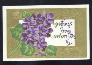 GREETINGS FROM CAWKER CITY KANSAS PURPLE FLOWERS VINTAGE POSTCARD
