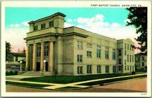 1930s Union City, Pennsylvania Postcard First Baptist Church Curteich / Unused
