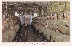 Parachutting , Plane interior , U.S. Artmy , Ready for the jump , FORT CAMP...