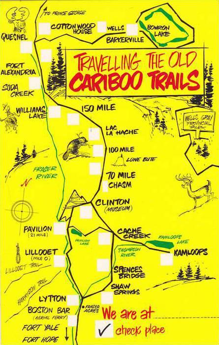 Map; Travelling the old CARIBOO trails , B.C. , Canada , 40-60s
