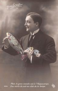 April 1st~1er Avirl~Gentleman With Daisy Bouquet~Fish~Colorized Real Photo~RPPC