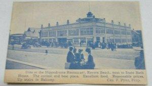 Dime At The Hippodrome Restaurant, Revere Beach, Mass Vintage Postcard 1901-1907