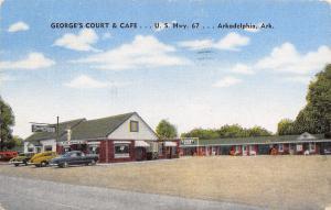 Arkadelphia Arkansas~George's Court & Cafe~Roadside Motel~Cars~1951 Linen PC