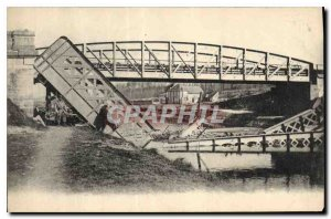Old Postcard Militaria Bridge destroyed by the Germans